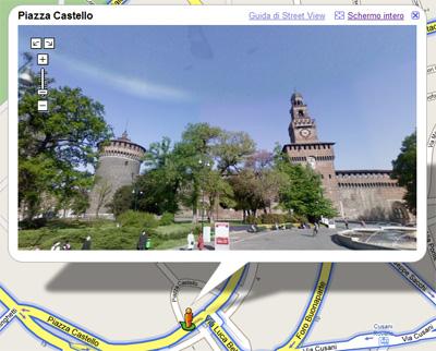 Una vista del Castello Sforzesco di Milano esporabile a 360°